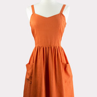 Orange Bow Back Sundress