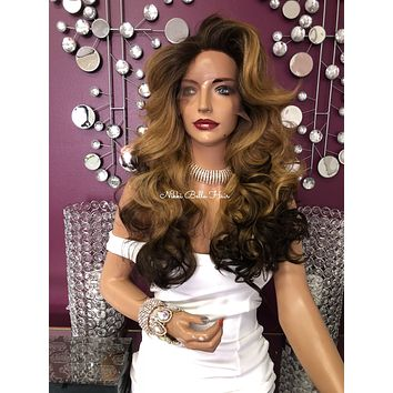 Dark Blonde Brown Ombre' Swiss Lace Front Wig 22"