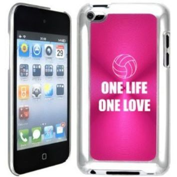 Apple iPod Touch 4 4G 4th Generation Hot Pink B1547 hard back case cover One Life One Love Volleyball