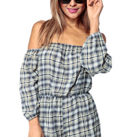 Yellow Plaid Off Shoulder Romper