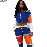 2019 New fashion sporty women's tracksuit hooded short jackets letter splicing long pants suits two piece set outfit GLA3068