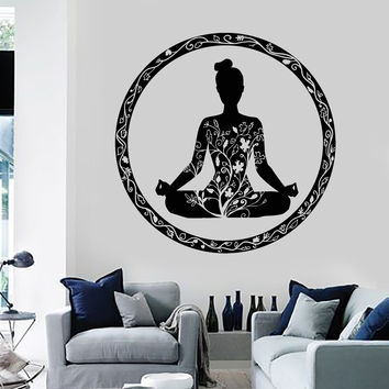 Vinyl Wall Decal Yoga Meditation Room Circle Ornament Buddhism Stickers (ig3609)