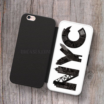 Wallet Leather Case for iPhone 4s 5s 5C SE 6S Plus Case, Samsung S3 S4 S5 S6 S7 Edge Note 3 4 5 NYC Cases