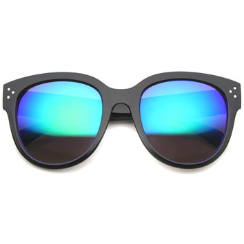 Oversize Lens Horned Rim Mirror Lens Sunglasses 9849