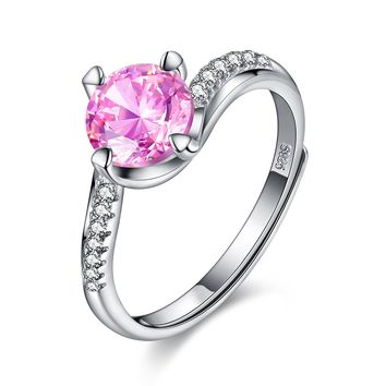 BALANSOHO 1.25 Carat Pink Cubic Zirconia Sterling Silver 925 Engagement Rings for Women Adjustable Size 4 to 11