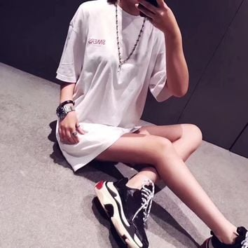 """Balenciaga"" Women Simple Casual Letter Print Short Sleeve Loose Long T-shirt Tops Tee"