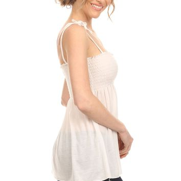 Cool White Smocked Tunic