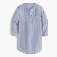 Collarless striped cotton nightshirt : Women pajamas | J.Crew