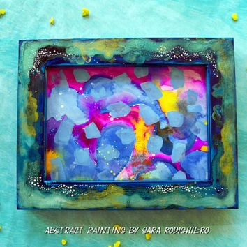 Abstract painting, framed art, abstract watercolor, 7.08 x 9.05  x 0.66 inches, colorful
