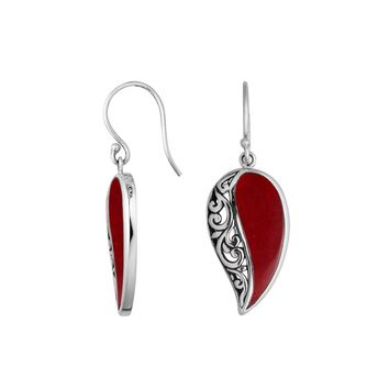 AE-6200-CR Sterling Silver Leaf Shape Earring With Coral