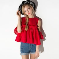 Plus Size Flounced Round Neck Shirt - Red/White