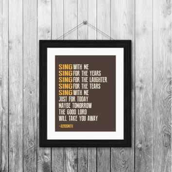 Aerosmith, Dream on, 8x10 Instant download, printable subway wall art, home decor print, digital download, typography, gift, song lyrics