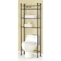 Monarch Specialties Bronze Metal Bathroom Space Saver With Tempered Glass I 3420