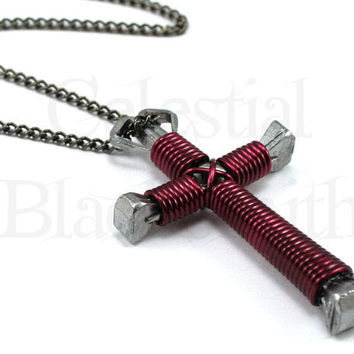 Burgundy Cross Necklace - Dark Red Wire Wrapped Horseshoe Nail Cross Pendant for Men Women