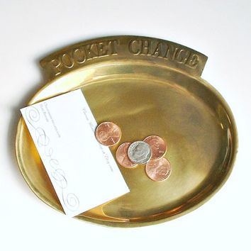 Brass Pocket Change Dish Tray Catch All Dish Vintage Coin Caddy Dresser Home Office Decor Storage
