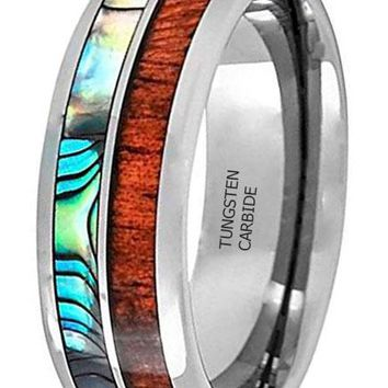 CERTIFIED 8MM Tungsten Carbide Hawaiian Koa Wood with Abalone Shell Inlay