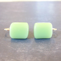 Clip On Earrings Mint Green Fused Glass Clip Back by mysassyglass
