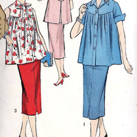 1950s Summer Maternity Blouse and Skirt Vintage Sewing Pattern, Mad Men Office Fashion Advance 8152 Bust 31""