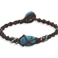 """7"""" Brown Cord and Turquoise Toggle Bracelet"""