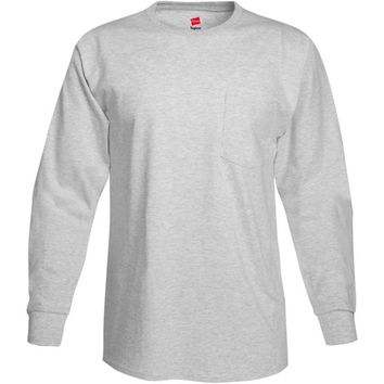 Men's Tagless Cotton Long Sleeve Pocket Tshirt - Walmart.com