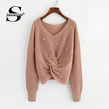 Plain V Neck Pearl Beading Casual Long Sleeve Detail Twist Knitted Sweater