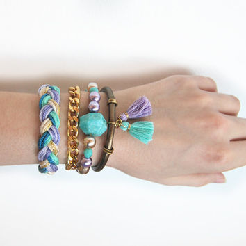 Bohemian bracelet stack, lilac and mint set of bracelets, boho arm candy, festival jewelry