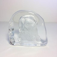 Cristal D'Arques Owl Crystal Lead Paperweight Vintage French France 1990s La Chouette Bird Birds