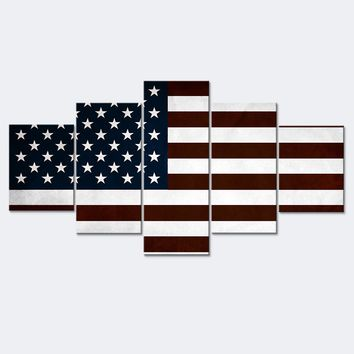 Canvas Wall Art: USA Flag Canvas Wall Art Print for Home or Office Decor