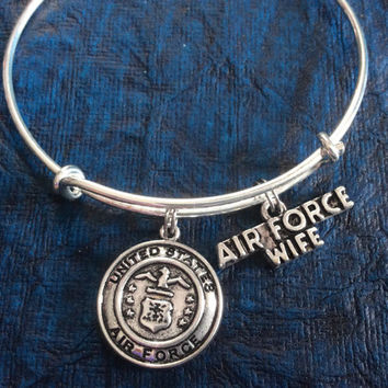 Air Force Wife Expandable Charm Bracelet Adjustable Bangle Gift USA Military Jewelry