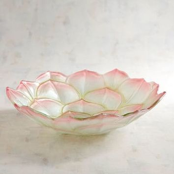 Succulent Painted Glass Serving Bowl