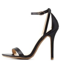Black Python-Textured Single Strap Heels by Charlotte Russe