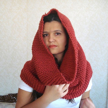 chunky cowl, knit scarf, red orange Infinity circle scarf Huge Chunky infinity Scarf Shawl hood hooded snood  Circular large cowl