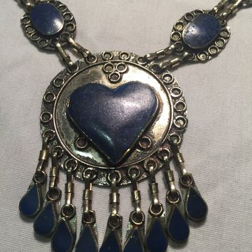 Vintage Nemesis hand wrapped Tibetan Lapis necklace.