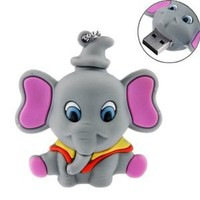8GB USB Flash Drive Cartoon Elephant Shaped 8G Memory Stick USB 2.0 U Disk - Grey