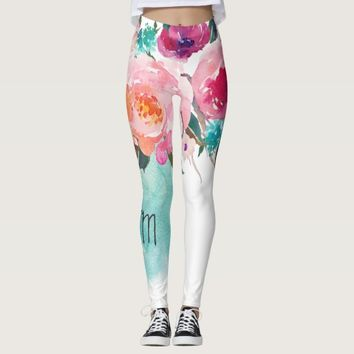 Floral Turquoise Pink Monogram Watercolor Bouquet Leggings