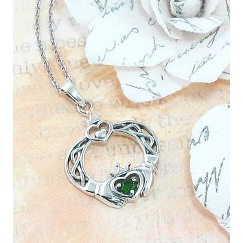 Claddagh Necklace with Emerald Green Crystal