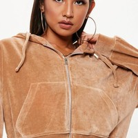Missguided - Camel Velour Zip Through Hoodie