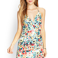FOREVER 21 Watercolor Floral Surplice Dress