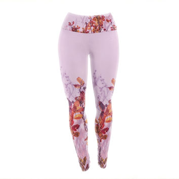 "Iris Lehnhardt ""Autumn Symphony"" Pink Orange Yoga Leggings"