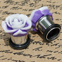 Purple and white flower with matte finish flower plugs for gauged ears: 14g - 7/16""