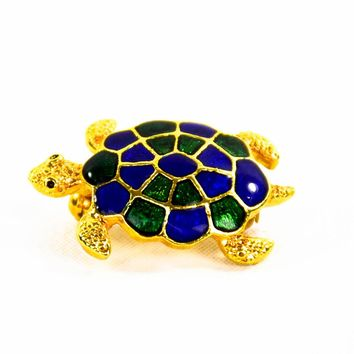 Vintage Brooch - Turtle Brooch - Blue Turtle - Gift for her - Vintage Turtle Brooch - Gift For Her