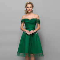 Green Tulle Knee Length Homecoming Dresses Off The Shoulder 2016 Polk Dot Short Graduation Dress A-Line Fashion Cocktail Gown