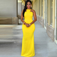 Yellow Open Back Maxi Dress