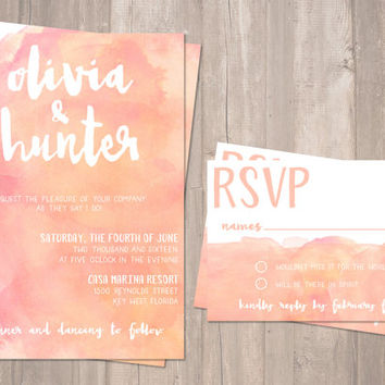 Blush, Coral, Watercolor Invitation, Printable Wedding Invitation - PRINTABLE - Digital Files
