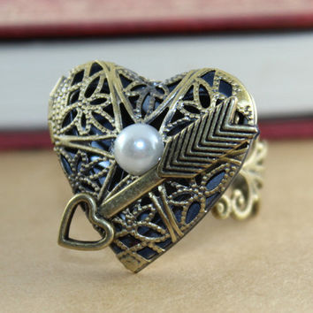 Lovely Heart  with white pearl Antique Bronze Steampunk Locket RING , Can Adjustable RING