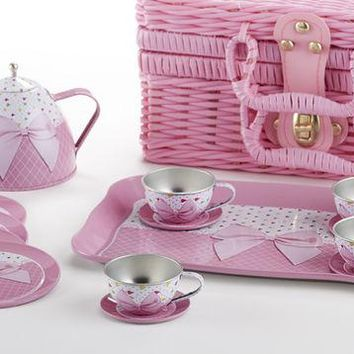 Children 18pc Tin Tea Set for 4 Girls - Pink Bow - FREE TEA INCLUDED!