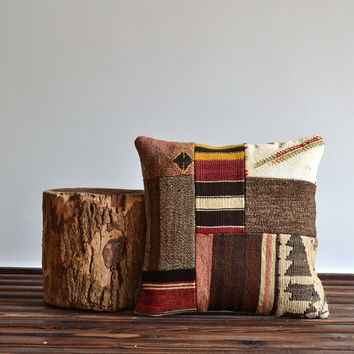 Kilim Patchwork Pillow - Bohemian Chic Home Decor - 16x16 Pillow Cover - Ethnic Decorative Pillows - Kilim Cushion Cover - Shabby Chic