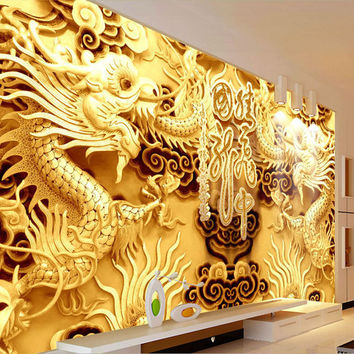 3D Golden Dragons Photo Wallpaper Woodcut Wall Mural Chinese Style Wallpaper Art Room Decor Sofa Background Wall Children Room