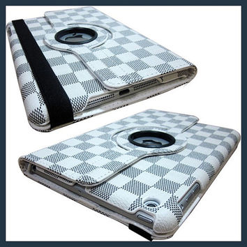 IPad 4 3 2 Cover Luxury Grid Pattern 360 Smart Rotating PU Leather Case ipad 4 ipad 3 ipad 2 - White