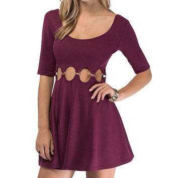 Wine Red Scoop Neckline Waist Cut-Out Skater Dress